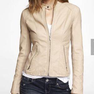 Jackets & Blazers - EXPRESS Beige Leather Jacket